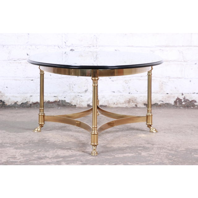 Labarge Mid-Century Hollywood Regency Brass and Glass Hooved Feet Coffee Table For Sale In South Bend - Image 6 of 9