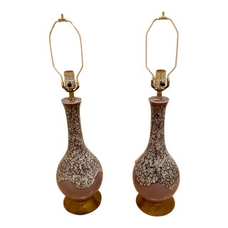 Vintage Purple Drip Glazed Gourd Lamps - a Pair For Sale