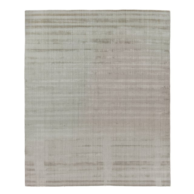 """Tan Iscar Hand loom Wool/Viscose Mineral Rug-6'x9"""" For Sale - Image 8 of 8"""