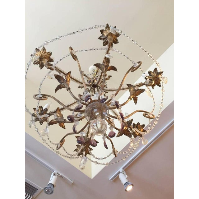 Crystal 19th Century Italian Gilt Iron, Tole and Crystal Chandelier For Sale - Image 7 of 8