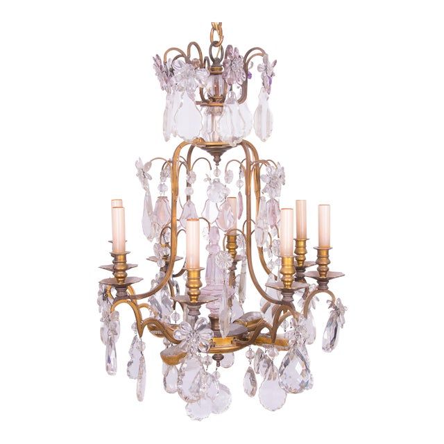 French Gilt Bronze and Crystal Chandelier For Sale