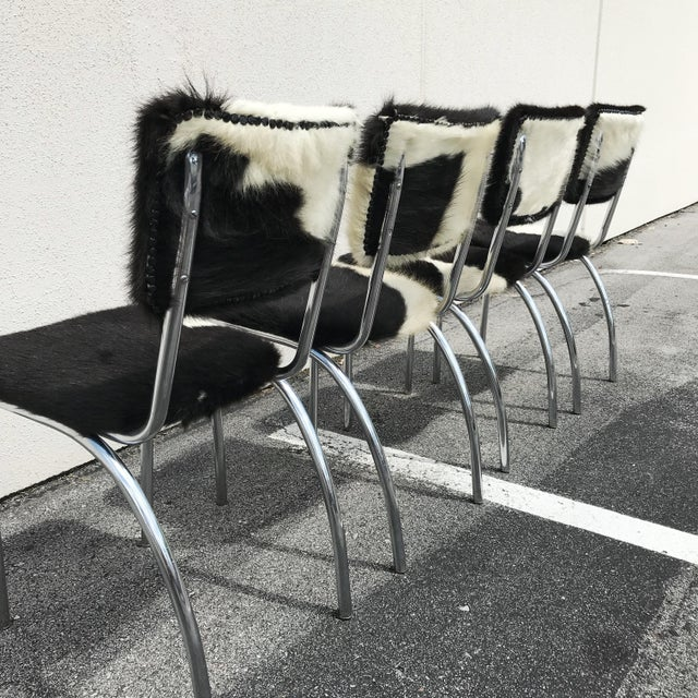 Cowhide Upholstered Chrome Chairs - Set of 4 For Sale - Image 4 of 11