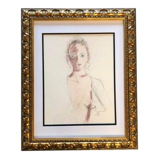 Original Vintage Pastel /Pencil Female Nude Portrait Drawing For Sale