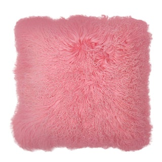 "Pink Mongolian Fur Pillow 18"" X18"""""