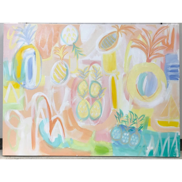 """2010s Christina Longoria """"Pineapple Punch"""" Contemporary Painting For Sale - Image 5 of 5"""