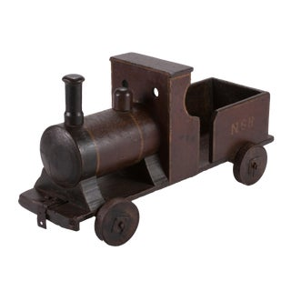 Late 19th Century Handmade Painted Wood Toy Train For Sale