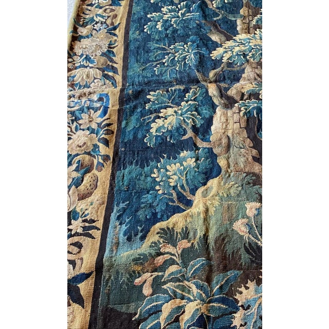 Navy Blue Antique Square 17th Century Flemish Verdure Landscape with Birds Tapestry For Sale - Image 8 of 10