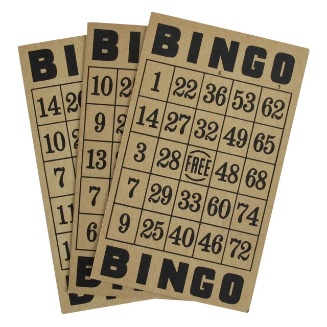 Vintage Bingo Cards - Set of 3 - Image 1 of 3