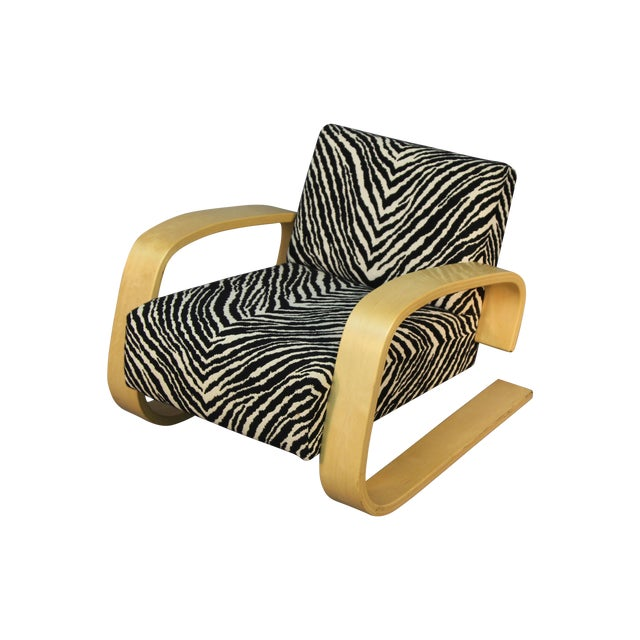 Alvar Aalto Tank Chair With Original Zebra Fabric - Image 1 of 7