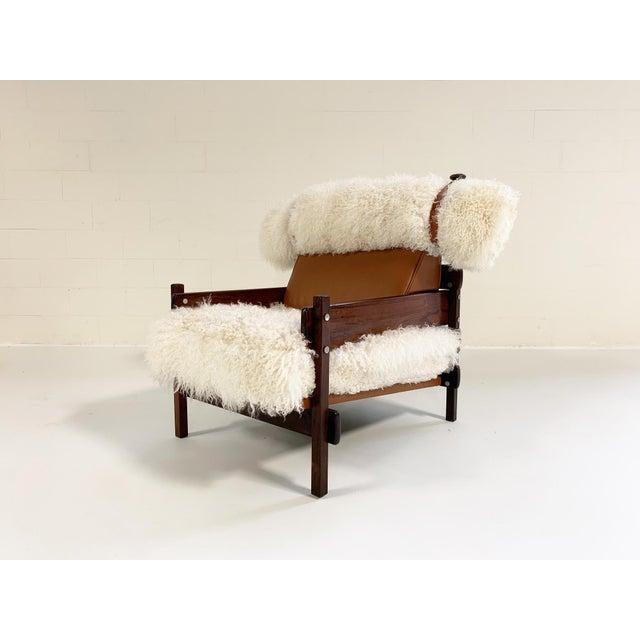 Sergio Rodrigues for Oca Solid Jacaranda Tonico Chair Restored in Gotland Sheepskin and Loro Piana Italian Buffalo Leather For Sale - Image 13 of 13