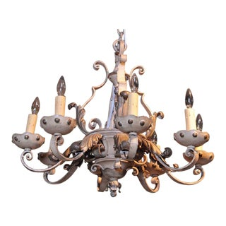 Late 19th Century French Painted & Gilt Eight-Light Wrought Iron Chandelier