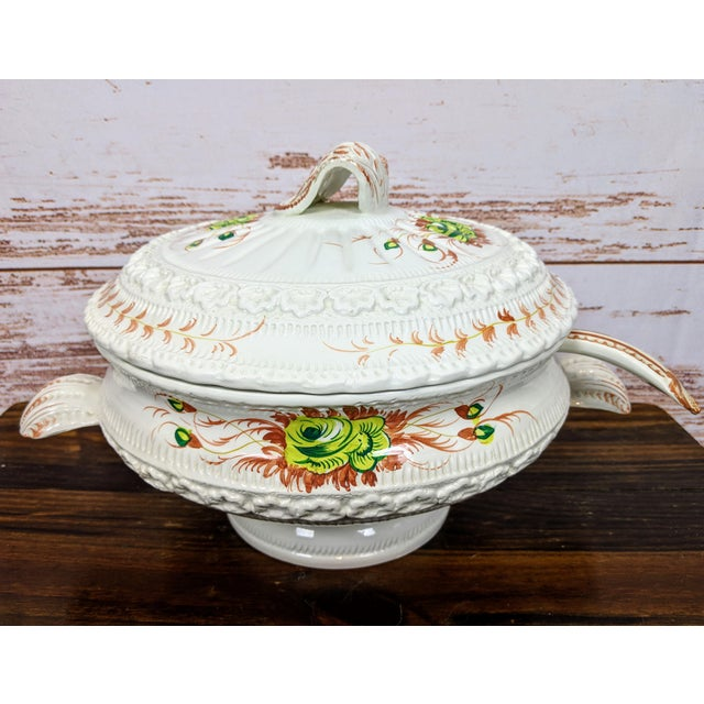 Ceramic 1960s Vintage Hand-Painted Italian Soup Tureen & Spoon - 2 Pieces For Sale - Image 7 of 7
