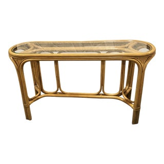 1970s Mid-Century Bamboo Rattan Bentwood and Glass Console Table For Sale
