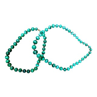 Vintage Malachite Bead Necklaces - a Pair For Sale
