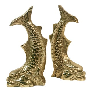Vintage Solid Brass Dolphin Fish Oriental Dragon Book Ends - Set of 2 For Sale