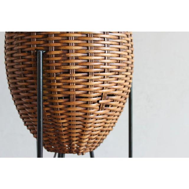 Paul Mayen Mid-Century Rattan & Iron Hairpin Floor Lamp For Sale - Image 11 of 13