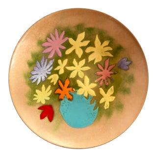 Vintage Enamel & Copper Modern Floral Dish For Sale