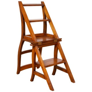 Vintage Dutch Colonial Metamorphic Teak Step Ladder Folding Side Chair For Sale