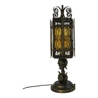 Vintage Mid Century Spanish Revival Gothic Metal Scroll Lamp For Sale