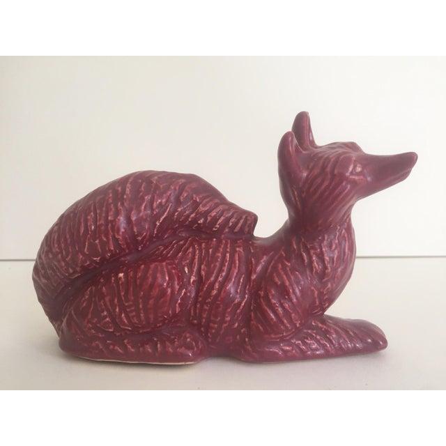 Ceramic Vintage Art Deco 1930's Niloak Dark Rose Art Pottery Animal Figurine Planters - Set of 3 For Sale - Image 7 of 11