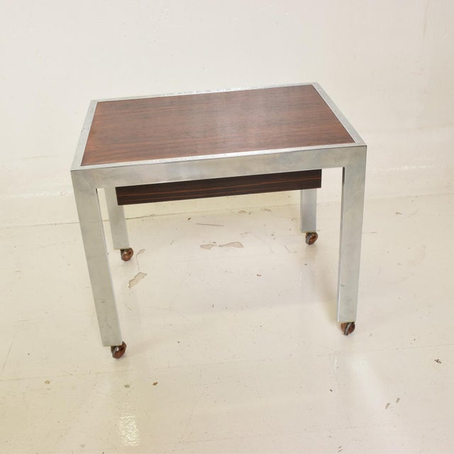 1960s Scandinavian Danish Modern Side Table in Rosewood and Chrome For Sale - Image 5 of 9