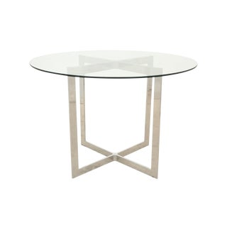 1990s Modern Glass and Chrome Side Table For Sale
