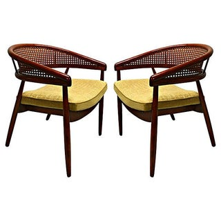 James Mont Cane Back Lounge Chairs - a Pair