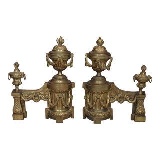 Pair Louis XVI Gilt Bronze Chenets