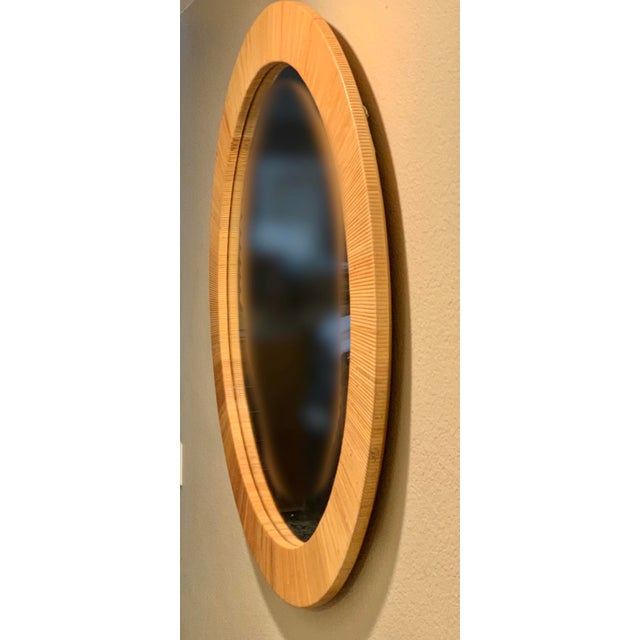 Boho Chic Bielecky Brothers Round Rattan Mirror For Sale - Image 3 of 7