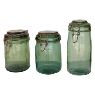 Vintage French Green Glass Canning Jars - Set of 3