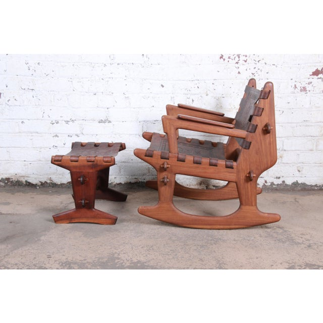 Angel I. Pazmino Angel Pazmino Teak and Leather Rocking Chair With Ottoman, Ecuador, 1960s For Sale - Image 4 of 12