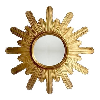 Extra Large Carved Wooden Brutalist Sunburst or Starburst Mirror, 1960s.