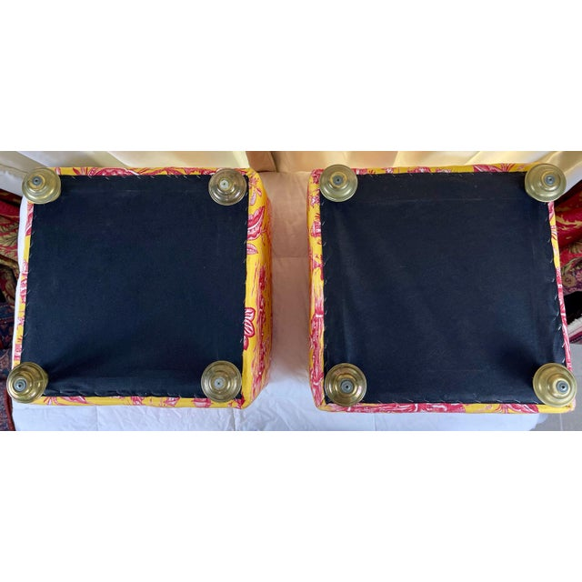Late 20th Century Vintage Chinoiserie Pouf Footstools with Brass Feat - a Pair For Sale - Image 9 of 10