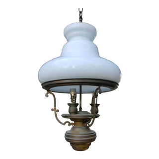 Vintage Brass and Milk Glass Hanging Ceiling Light Fixture For Sale
