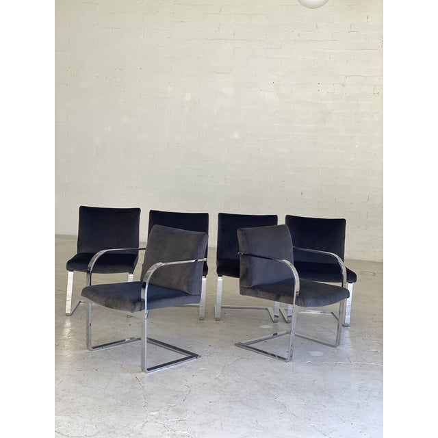 Metal Mid-Century Modern Charcoal Velvet and Chrome Cantilever Chairs - Set of 6 For Sale - Image 7 of 9