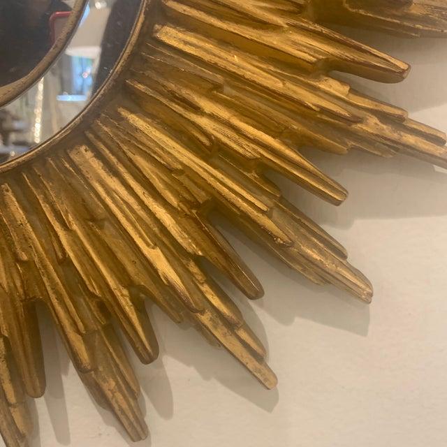 Hollywood Regency Gilded Sunburst Mirror For Sale - Image 10 of 13