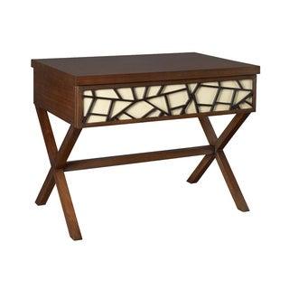 "Ralph Lauren ""Zita"" Side Table Gorgeous Cracked Ice Pattern Walnut Finish"