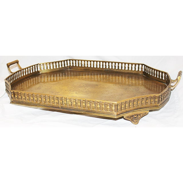 Ivory Chinoiserie-Style Brass Tray Cocktail Table For Sale In West Palm - Image 6 of 7