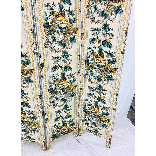 Blue Vintage Chintz Screen For Sale - Image 8 of 9
