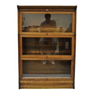 Antique Lundstrom Oak Bookcase For Sale