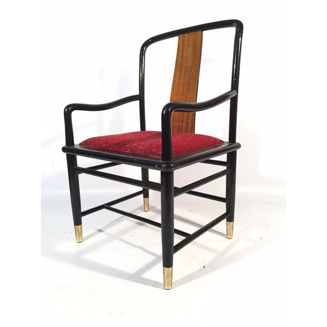Set of six Henredon Elan dining chairs feature black lacquered frames, brass feet,, and koa wood back splats. Excellent...