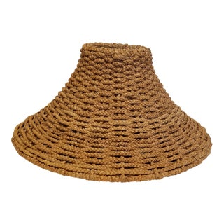 Coastal Chic Contemporary Sea Grass Lamp Shade Lined in Tan Cotton For Sale