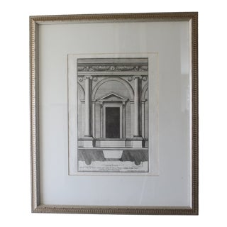 Early 19th Century Antique Architectural Portico of the Palace Fornese Rome Print For Sale