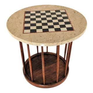 Mid-Century Drexel Wood and Marble Checkers Chess Game Table For Sale