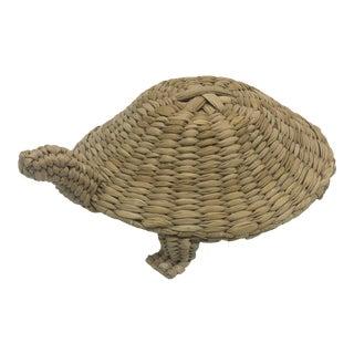 Vintage Woven Wicker Turtle For Sale