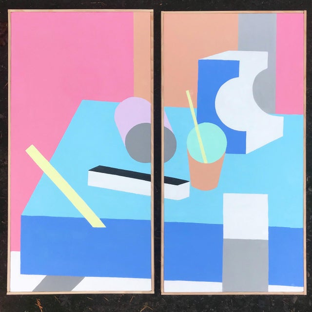2010s Colorful Post Modern Hard Edge Diptych Paintings by J. Marquis, a Pair For Sale - Image 5 of 5
