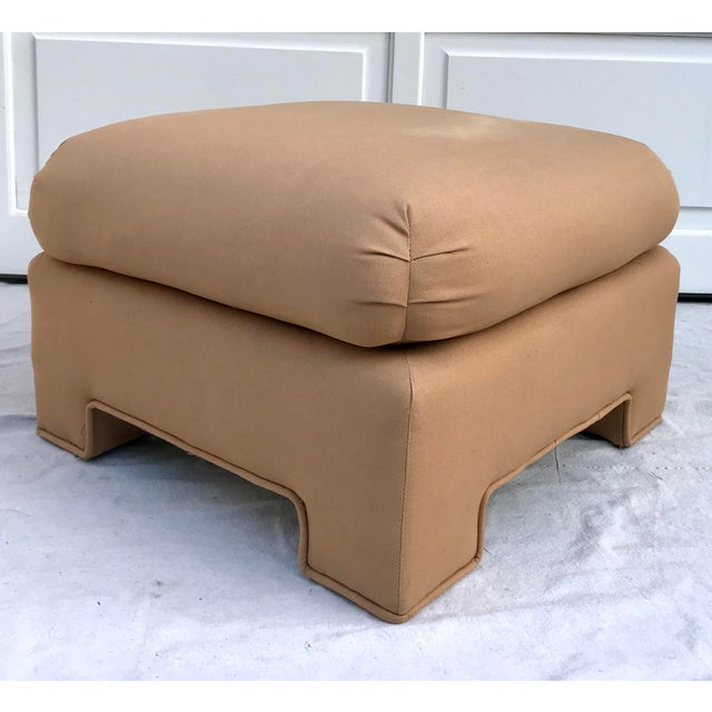 1979 Upholstered Soufflé Style Modern Pink Ottoman For Sale - Image 9 of 13