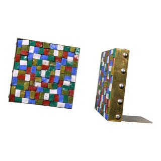 Vintage Arts and Crafts Copper and Glass Mosaic Bookends For Sale