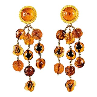 Isabel Canovas Gripoix Amber & Gold Drop Earrings For Sale