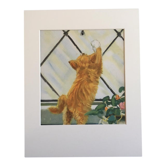 "Vintage Diana Thorne Cat Print ""On the Hunt"" For Sale"